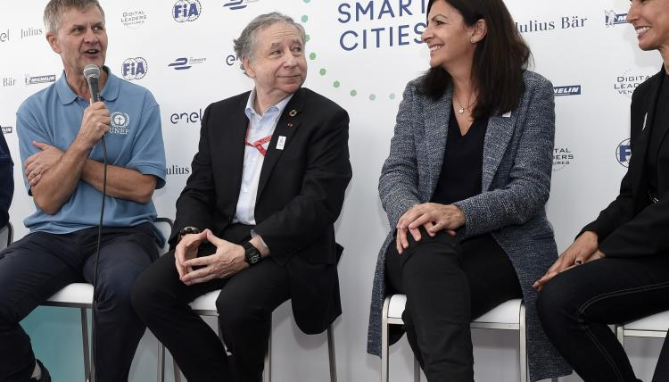 Jean Todt and Anne Hidalgo discuss road safety challenges in cities at the Paris ePrix